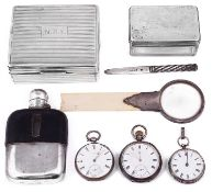 A mixed lot of mostly 19th c. silver and plated items to include pocket watches