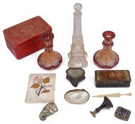 An interesting collection of vertu to include a large 19th c. horn snuff box