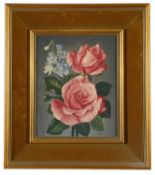 James Noble (Brit. 1919-1989) 'Study of two pink roses', oil on board, signed