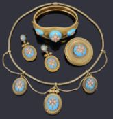 An exquisite mid-Victorian gold, diamond, coral and blue enamel suite, circa 1860s