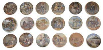 A large collection of 19th century Prattware and other pot lids