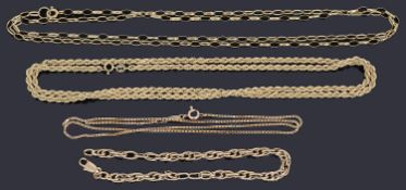 Four assorted gold chains