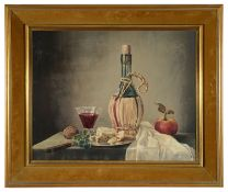 James Noble (Brit. 1919-1989) 'Chianti with cheese and apple', oil on canvas, signed