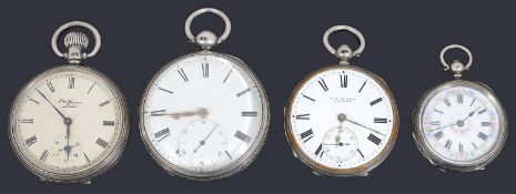 Three silver assorted open face pocket watches and a silver fob watch