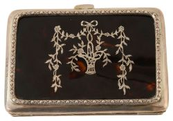 A 19th century tortoiseshell and silver inlay card case