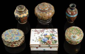 A small collection of mostly early 20th c. Japanese cloisonne items