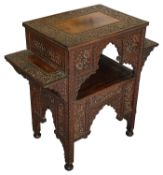 A 19th c. Anglo-Indian carved hardwood rectangular occasional table