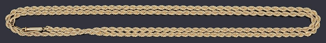 A gold rope chain necklace