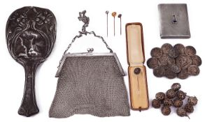 Selection of mostly silver items of vertu to include a cigarette case, a chain mesh evening bag