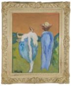Henryk Gotlib (Polish 1890-1966) 'White Ox with farm worker' oil on canvas, signed lower left