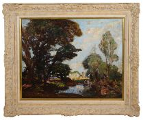 William Watt Milne (Scot. 1865-1949) 'River landscape with trees', oil on canvas, signed