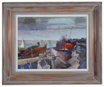 Christopher Daynes (Brit. b.1946) 'Banks of the Rother' oil on board, signed lower left, framed