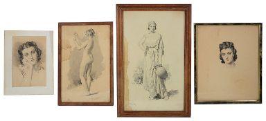Fortunino Matania RI (1881-1963) Italian, pencil and wash, signed