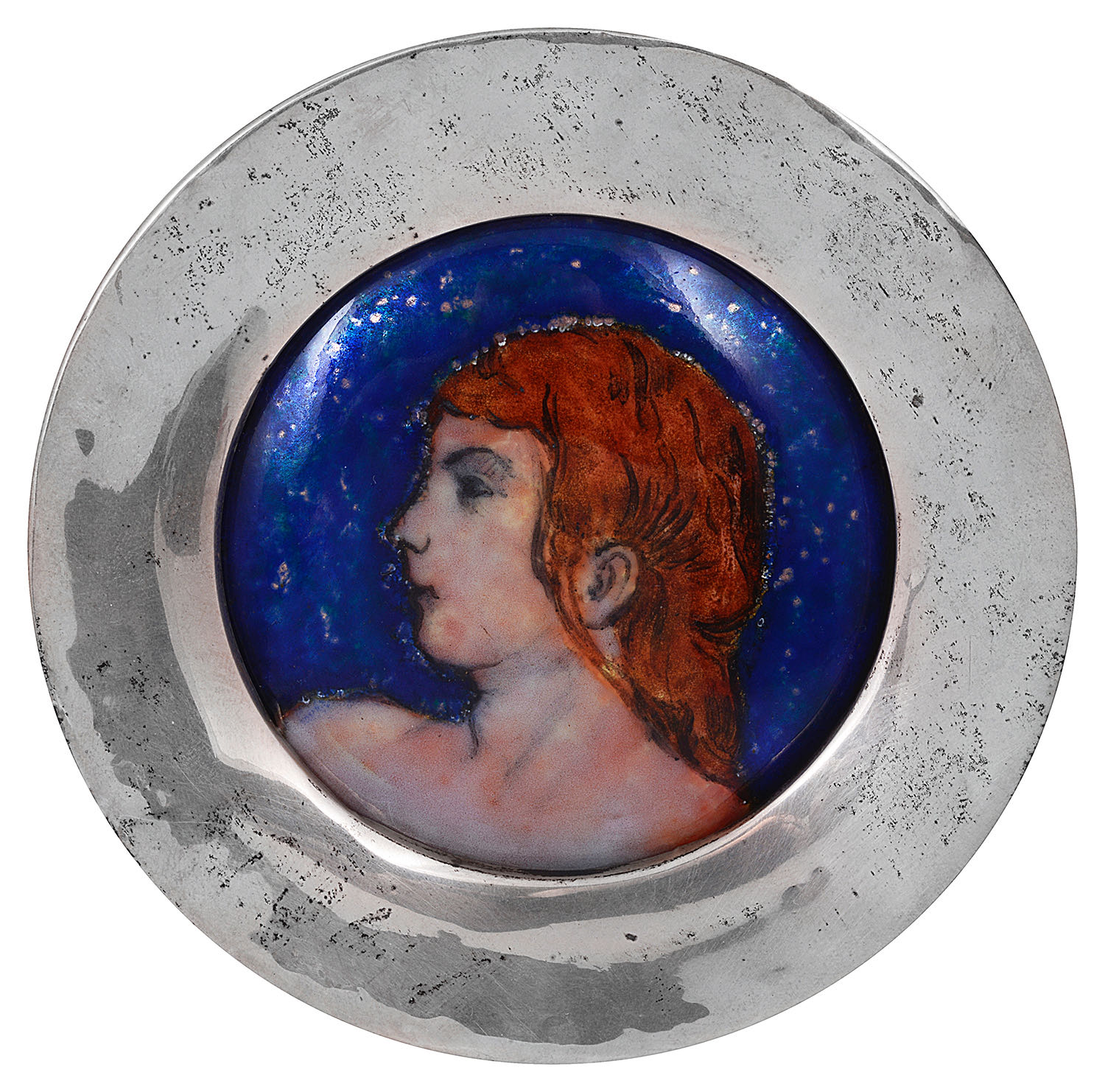 Lot 11 - An Arts & Crafts enamel on copper portrait roundel in a circular silver frame