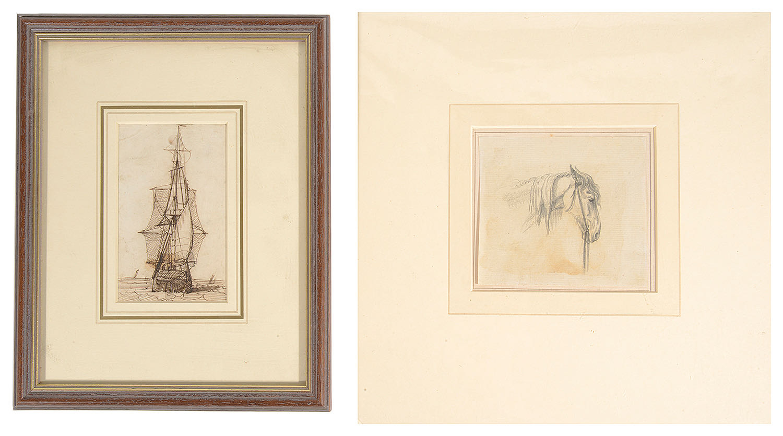 Lot 31 - John White Abbott (Brit. 1763-1851) pencil; Richard Henry Nibbs (1816-1893), pen and ink