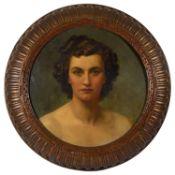 Fortunino Matania RI (1881-1963) Italian 'Beryl', oil on board in the round, unsigned, framed