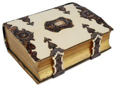 A late 19th c. Continental ivory and tortoiseshell bound photo album