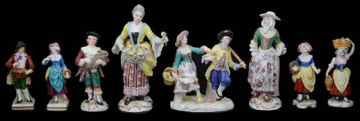 A small collection of 20th c. Meissen and Samson porcelain figures