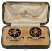 A pair of George V silver and tortoiseshell menu holders
