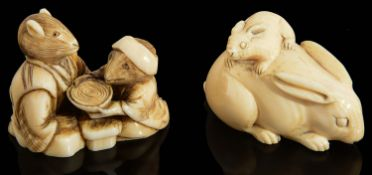 Two late 19th/early 20th c. Japanese Meiji period carved ivory netsuke