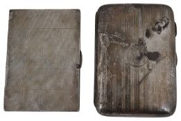 An Edward VII silver pocket cigar case and an Edward VIII Art Deco silver cigarette case