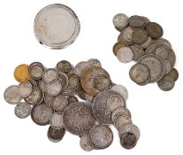 A Victoria half sovereign and a selection British silver coins
