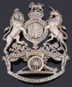 A Royal Artillery Other Ranks general pattern silver plated helmet plate, post 1901