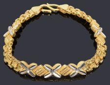 An Indian high carat gold decorative chain bracelet