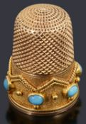 A Victorian gold and turquoise thimble