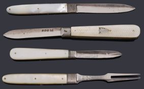 A George III silver and mother of pearl campaign folding knife and fork set, others