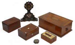 A Victorian papier mache watch stand and 19th century and later boxes