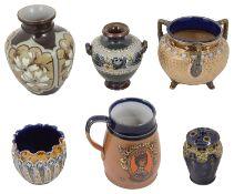 Doulton stoneware to include a Doulton Lambeth Silicon vase decorated by Eliza Simmance