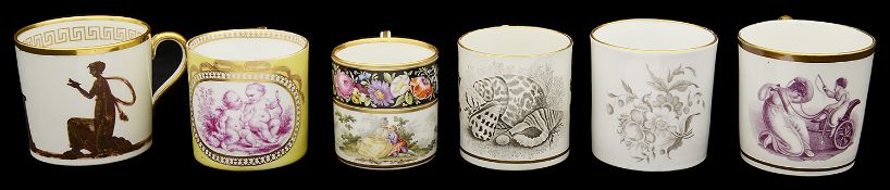 A collection of 19th century porcelain coffee cans to include Meissen