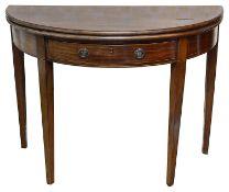 A George III mahogany demi-lune fold over tea table