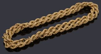 A 9ct gold rope chain
