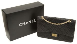 A Chanel black quilted distressed lambskin 2.55 reissue maxi flap handbag