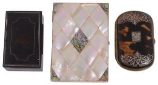 A Victorian mother of pearl and nacre veneered card case, others