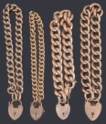 Four assorted Victorian and later 9ct gold curb link bracelets