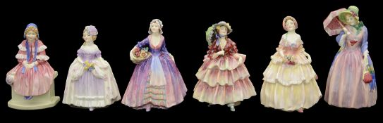 Six pre-war Royal Doulton porcelain figures