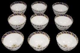 Nine Flight Worcester tea bowls c.1785