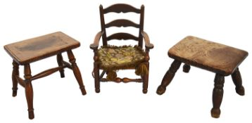 19th c miniature stained beechwood rush seated Lancashire ladder back armchair, others