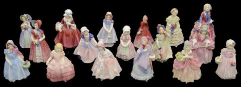 Seventeen Royal Doulton porcelain small lady figurines