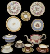 A collection of early 19th century H & R Daniel tea and dessert ware