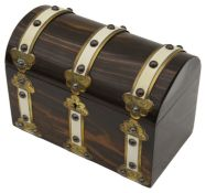 A Victorian coromandel brass and ivory mounted tea caddy