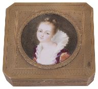 An early 20th century Continental gilt metal and enamel portrait snuff box