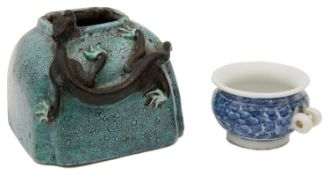 A 19th century Chinese Qing Dynasty Robins egg glazed brush washer and a blue and white bird feeder