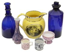 An early 19th c Staffordshire silver lustre canary yellow pearl ware jug, others