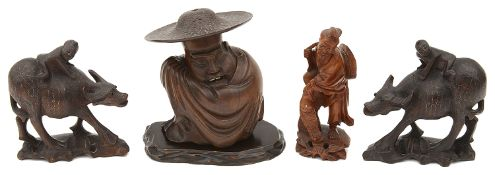 A small collection of late 19th/early 20th century Chinese hardwood carvings