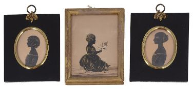 English school, late 18th c bronzed portrait of young child c.1780; 19th c pair of portraits c.1830