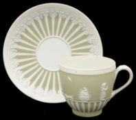 A late 18th century Wedgwood Jasper ware coffee cup and saucer c.1790